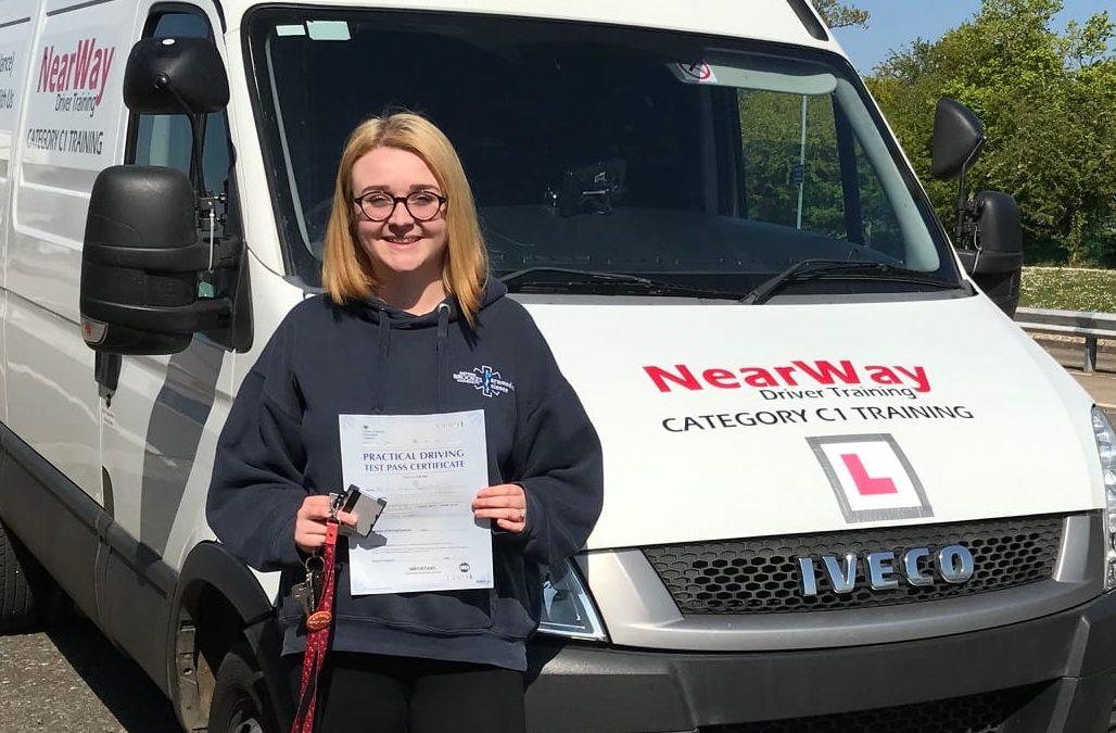 Eve Beharrell ambulance driving test.